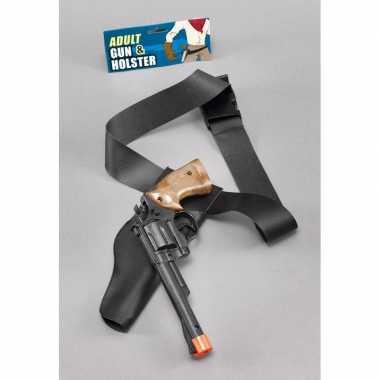 Originele carnaval accessoires zwarte pistool holster carnavalskledin