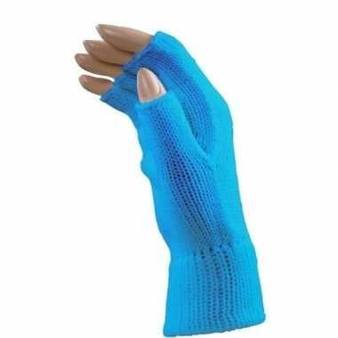 Originele carnaval blauwe polsjes/handschoenen vingerloos volwassenen