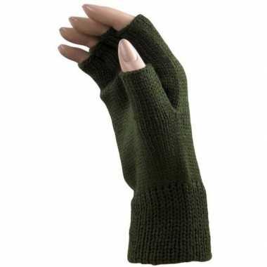 Originele carnaval donker groene polsjes/handschoenen vingerloos volw