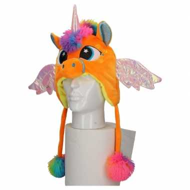 Originele carnaval eenhoorn muts kids oranje carnavalskleding