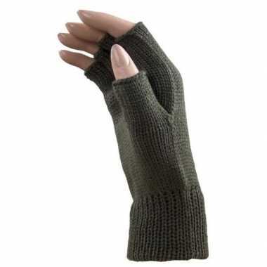 Originele carnaval leger groene polsjes/handschoenen vingerloos volwa