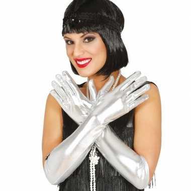 Originele carnaval metallic zilveren gala handschoenen carnavalskledi