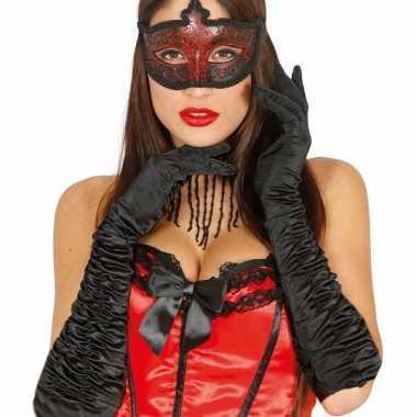 Originele carnaval satijnen zwarte gala handschoenen carnavalskleding