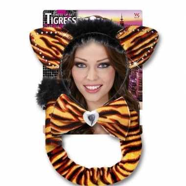 Originele carnaval verkleedset tijgerrin volwassenen carnavalskleding