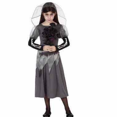 Originele carnavals zombie bruid grijs meisjes carnavalskleding