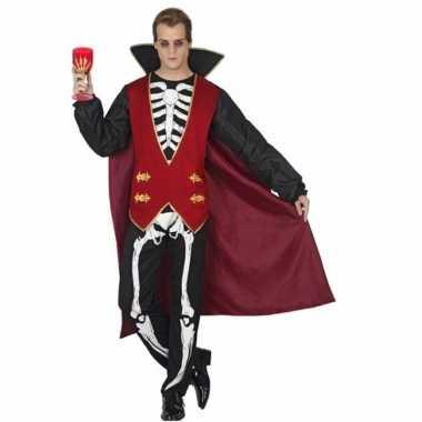 Originele carnavalskleding vampier skelet opdruk