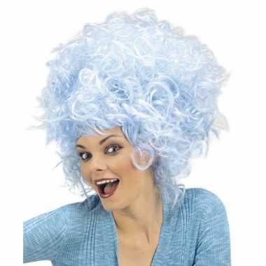 Originele  Carnavalspruik blauwe suikerspin dames carnavalskleding