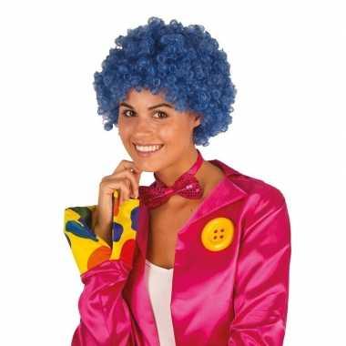 Originele clownspruik blauwe krulletjes verkleed accessoire carnavals
