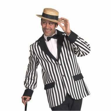 Originele  Colbert zwart/wit gestreept heren carnavalskleding