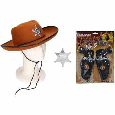 Originele cowboy accessoire set bruin kinderen carnavalskleding