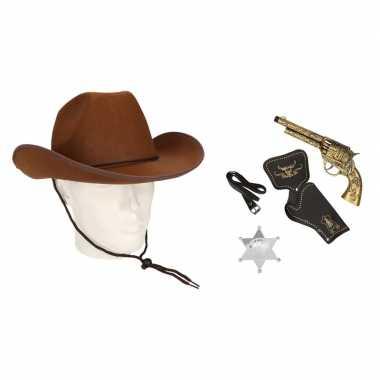 Originele cowboy accessoire set bruin volwassenen carnavalskleding