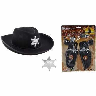 Originele cowboy accessoire set zwart kinderen carnavalskleding