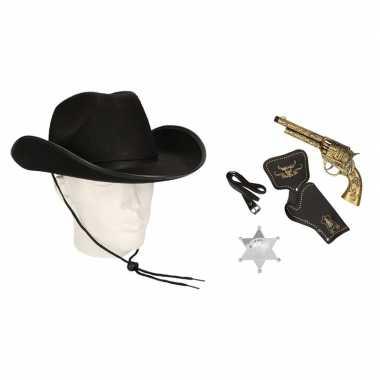 Originele cowboy accessoire set zwart volwassenen carnavalskleding