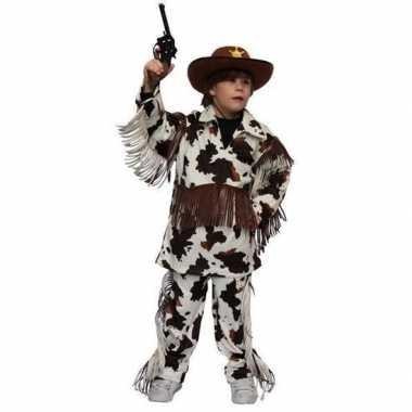 Originele cowboy carnavalskleding koeienprint kinderen