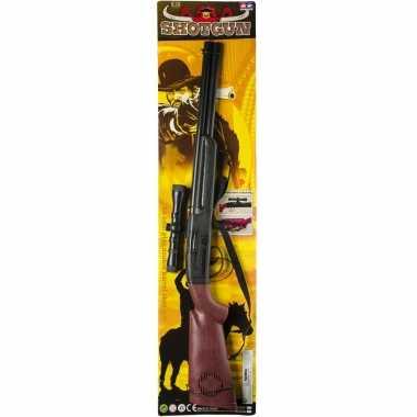 Originele cowboy speelgoed verkleed geweer zwart geluid carnavalskleding