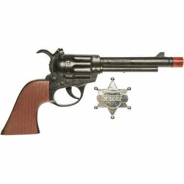 Originele cowboy speelgoed verkleed pistool zwart sheriff ster carnavalskleding