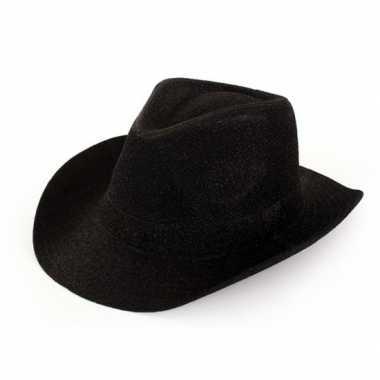 Originele cowboyhoed zwart glitter volwassenen carnavalskleding