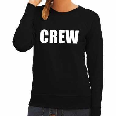 Originele crew tekst sweater / trui zwart dames carnavalskleding