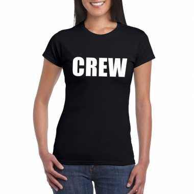 Originele crew tekst t shirt zwart dames carnavalskleding