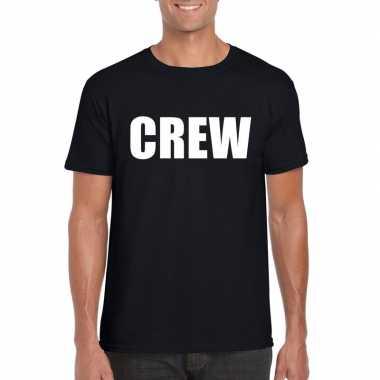 Originele crew tekst t shirt zwart heren carnavalskleding