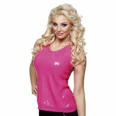 Originele dames disco top roze carnavalskleding