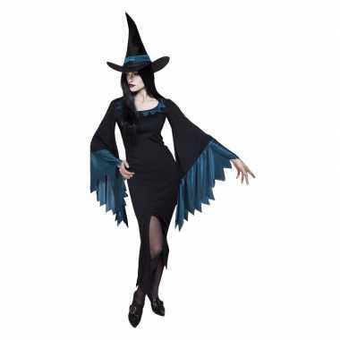 Originele dames heksen carnavalskleding zwart blauw