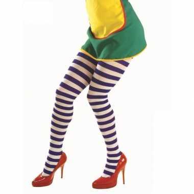 Originele dames panty blauw witte streep carnavalskleding