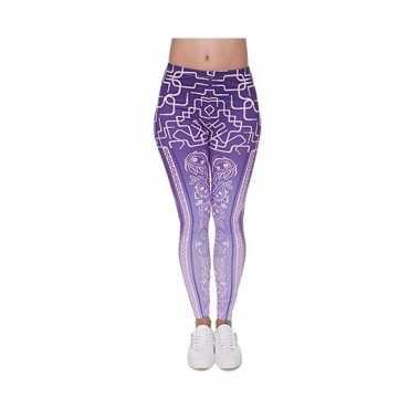 Originele dames party legging modieuze paarse print carnavalskleding