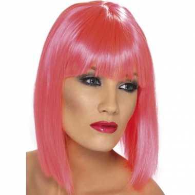 Originele dames pruiken roze carnavalskleding