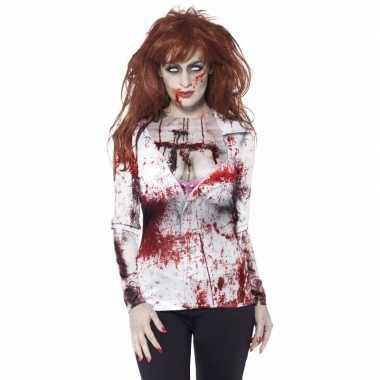 Originele dames verkleedshirt bloederige zombie carnavalskleding