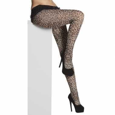 Originele denier panty luipaard/panter print dames carnavalskleding