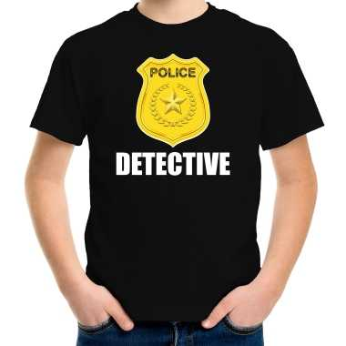 Originele detective police / politie embleem t shirt zwart kinderen carnavalskleding