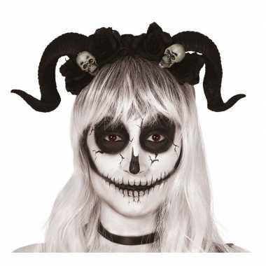 Originele diadeem/tiara zwarte hoorns doodshoofden carnavalskleding