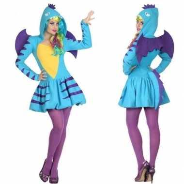 Originele dieren carnavalskleding blauwe draak verkleed carnavalskled