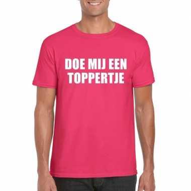 Originele doe mij een toppertje shirt roze heren carnavalskleding