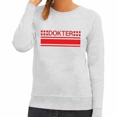 Originele dokter logo sweater grijs dames carnavalskleding