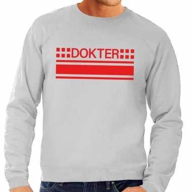 Originele dokter logo sweater grijs heren carnavalskleding