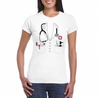 Originele doktersjas carnavalskleding t shirt wit dames