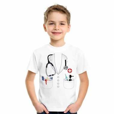Originele doktersjas carnavalskleding t shirt wit kinderen