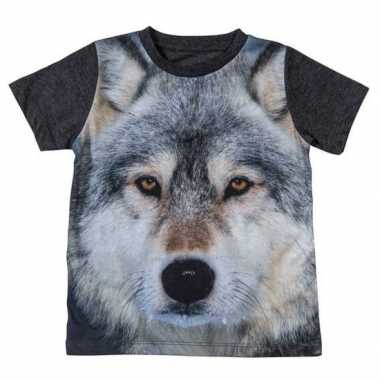 Originele donkergrijs t shirt wolf kinderen carnavalskleding