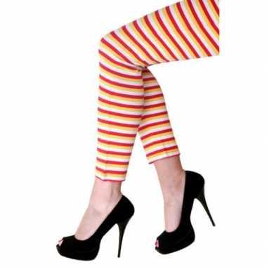 Originele dorus legging gekleurde strepen carnavalskleding