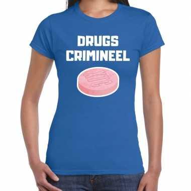 Originele drugs crimineel verkleed t shirt blauw dames carnavalskleding