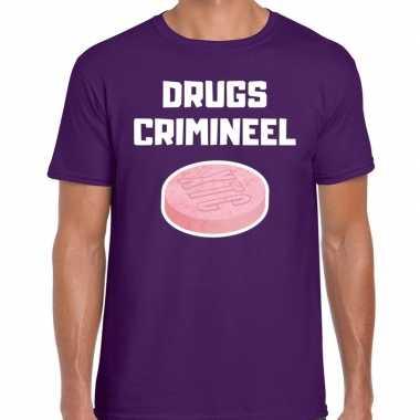 Originele drugs crimineel verkleed t shirt paars heren carnavalskleding