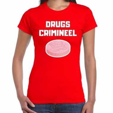 Originele drugs crimineel verkleed t shirt rood dames carnavalskleding