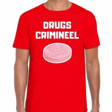 Originele drugs crimineel verkleed t shirt rood heren carnavalskleding