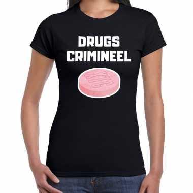 Originele drugs crimineel verkleed t shirt zwart dames carnavalskleding