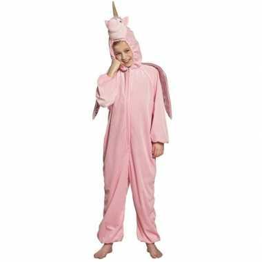 Originele eenhoorn dieren onesie/carnavalskleding kinderen roze