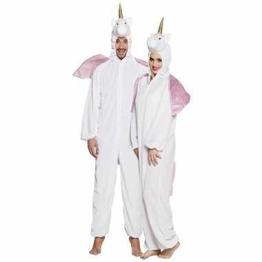 Originele eenhoorn dieren onesie/carnavalskleding volwassenen wit