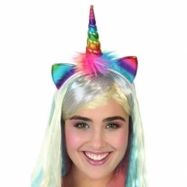 Originele eenhoorn verkleed diadeem regenboog dames carnavalskleding