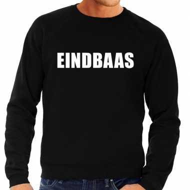 Originele eindbaas tekst sweater / trui zwart heren carnavalskleding